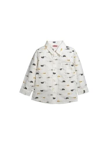 Zeyland Zeyland Gömlek Yaka Uzun Kollu Araba Desenli Cepli Çocuk Gömlek 12 Ay4 Yaş Beyaz